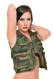 Beautiful army woman with long hair Stock Photos