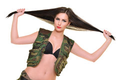 Beautiful army woman with long hair Royalty Free Stock Photo