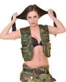 Beautiful army woman with long hair Stock Image