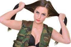 Beautiful army woman with long hair Royalty Free Stock Photography