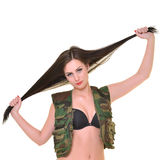 Beautiful army woman with long hair Stock Images