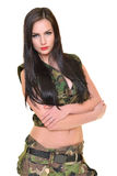 Beautiful army woman with long hair Royalty Free Stock Image