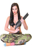 Beautiful army woman with long hair Stock Photography