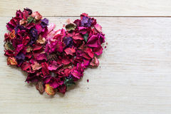beautiful and aroma of dried flower petals many  shape heart Stock Photography