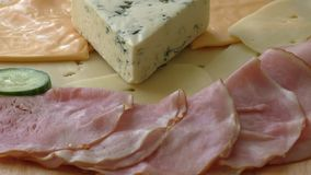 Beautiful arrangement with cold - ham and cheese stock footage