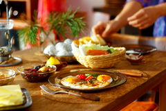 Beautiful arrangement of healthy life style vegetarian breakfast on wooden table. Stock Images