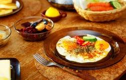 Beautiful arrangement of healthy life style vegetarian breakfast on wooden table. Stock Photo