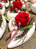 Vases of Roses. Beautiful Arrangement of Roses in Vases Stock Photos