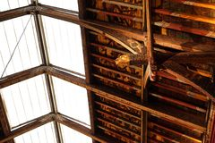 Beautiful art and architecture in rafter detail. The painted ceiling rafters in the portrait gallery of this medieval castle in Kilkenny, Ireland offer rich royalty free stock photos