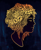 Beautiful art of a girl with flowers on her head. Stock Photography