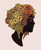 Beautiful art of a girl with flowers on her head. Royalty Free Stock Photo