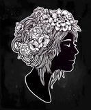 Beautiful art of a girl with flowers on her head. Stock Image