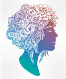Beautiful art of a girl with flowers on her head. Royalty Free Stock Photos