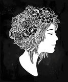Beautiful art of a girl with flowers on her head. Royalty Free Stock Images