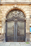 Beautiful art nouveau door gate. With iron flower motives Royalty Free Stock Photography