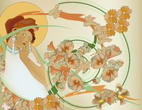 Beautiful art nouveau woman portrait. Tribute to Mucha Stock Images