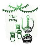 Hand drawn ramadan kareem, iftar party, green shine Stock Photography