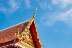 Beautiful art roof of the Buddhism temple, Thailand. Orange roof Royalty Free Stock Photos