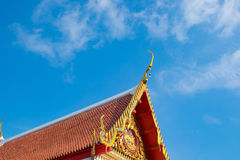 Beautiful art roof of the Buddhism temple, Thailand. Orange roof Royalty Free Stock Photography