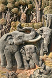 Beautiful art sculpture of elephants and nature. Ornament: beautiful art sculpture of elephants and nature environment Stock Images