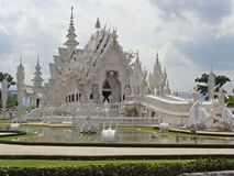 Beautiful art of white temple in Thailand Royalty Free Stock Photos