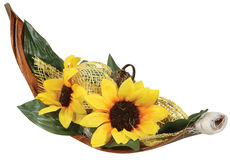Beautiful artificial sunflower with leaf Stock Images