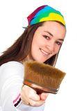 Beautiful artist with her brush Royalty Free Stock Photo