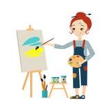 Beautiful Artist Woman Painting on Canvas stock illustration