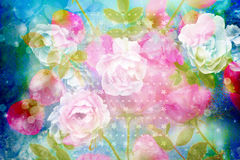 Beautiful artistic background with romantic pink roses. Beautiful artistic bacground with roses and starry pattern Stock Images
