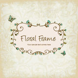 Floral frame illustration with Butterly Stock Photos