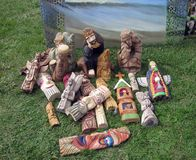 Handmade different wood figures Royalty Free Stock Images