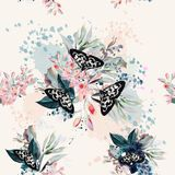 Beautiful artistic pattern with flowers and butterflies in sprin. G peach colors Royalty Free Stock Images