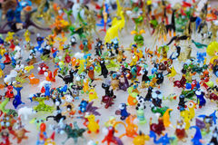 Glass work of tiny figures of animals Royalty Free Stock Images