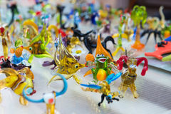 Glass work of tiny figures of animals Stock Image