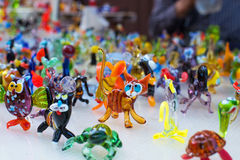 Glass work of tiny figures of animals Royalty Free Stock Photography