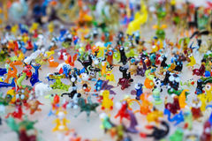 Glass work of tiny figures of animals Stock Photography