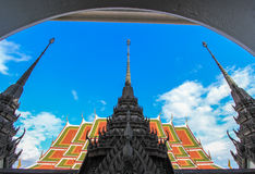 Beautiful arts and architecture at Loha Prasat,Wat Ratchanaddaram. Wat Ratchanaddaram Woravihara(Loha Prasat) is a  buddhist temple located at the intersection Royalty Free Stock Image
