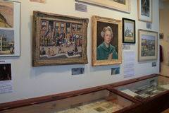 Beautiful artwork hanging from walls and in cases, The Brick Store Museum,Kennebunk,Maine,2016 Stock Photo