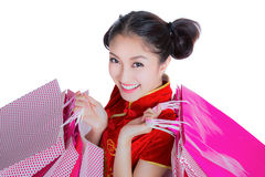Beautiful Asia girl happy smile and shopping Stock Images