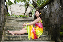 Beautiful asia girl sitting on stair Stock Image