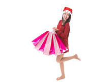 Beautiful Asia woman christmas girl happy Royalty Free Stock Images