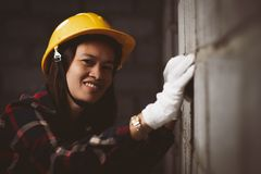 Asia woman working at the site works with happy. stock photo