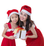 Beautiful Asia woman and girl wear Santa Clause costume Royalty Free Stock Photography