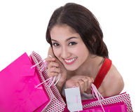 Beautiful Asia woman happy smile hold new year gift box present Stock Photos