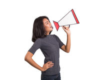 Beautiful asia woman with megaphone on white background royalty free stock images