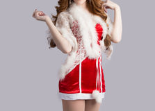 Beautiful asia woman model in Santa Claus clothes Stock Photo