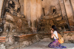 Beautiful asia woman pay respect Royalty Free Stock Images