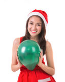 Beautiful Asia woman wear Santa Clause costume, christmas girl h Stock Photography