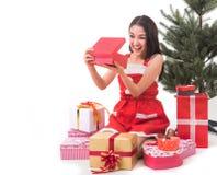 Beautiful Asia woman wear Santa Clause costume Royalty Free Stock Photos