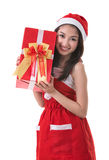 Beautiful Asia woman wear Santa Clause costume Royalty Free Stock Image
